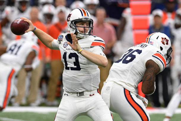Jan 2, 2017; New Orleans , LA, USA; Auburn Tigers quarterback Sean White (13) throws a pass against the Oklahoma Sooners in the second quarter of the 2017 Sugar Bowl at the Mercedes-Benz Superdome. Mandatory Credit: John David Mercer-USA TODAY Sports