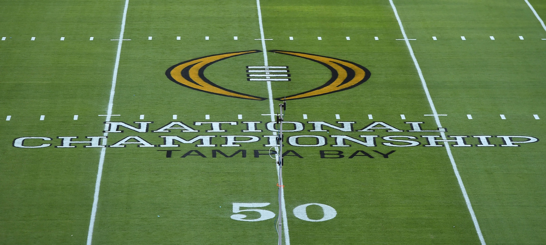 Jan 9, 2017; Tampa, FL, USA; A general view of the logo on the field before the 2017 College Football Playoff National Championship Game between the Alabama Crimson Tide and the Clemson Tigers at Raymond James Stadium. Mandatory Credit: Jasen Vinlove-USA TODAY Sports