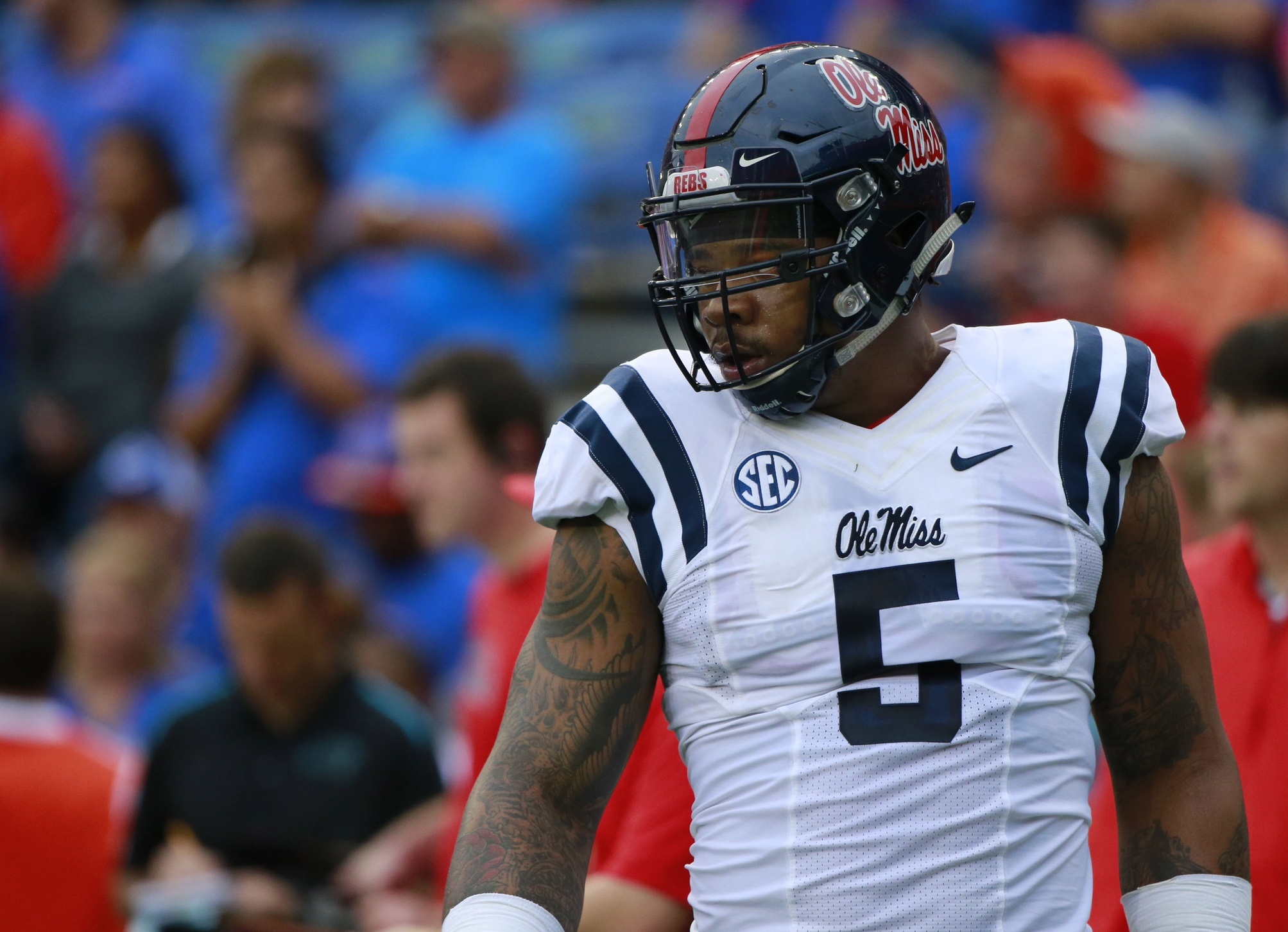 Oct 3, 2015; Gainesville, FL, USA; Mississippi Rebels defensive tackle Robert Nkemdiche (5) looks on prior to the game at Ben Hill Griffin Stadium. Mandatory Credit: Kim Klement-USA TODAY Sports