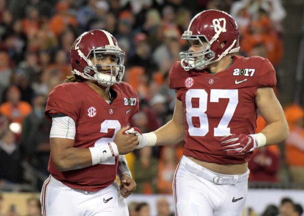 Jan 9, 2017; Tampa, FL, USA; Alabama Crimson Tide quarterback Jalen Hurts (2) celebrates his fourth quarter touchdown with tight end Miller Forristall (87) in the 2017 College Football Playoff National Championship Game against the Clemson Tigers at Raymond James Stadium. Mandatory Credit: Kirby Lee-USA TODAY Sports
