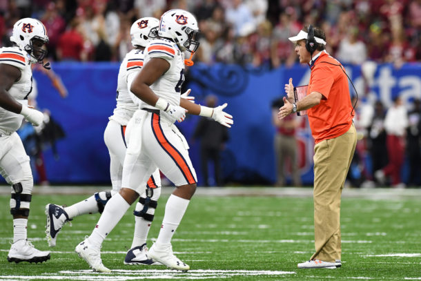 Jan 2, 2017; New Orleans , LA, USA; Auburn Tigers head coach Gus Malzahn reacts with his defense after a stop against the Oklahoma Sooners in the second quarter of the 2017 Sugar Bowl at the Mercedes-Benz Superdome. Mandatory Credit: John David Mercer-USA TODAY Sports