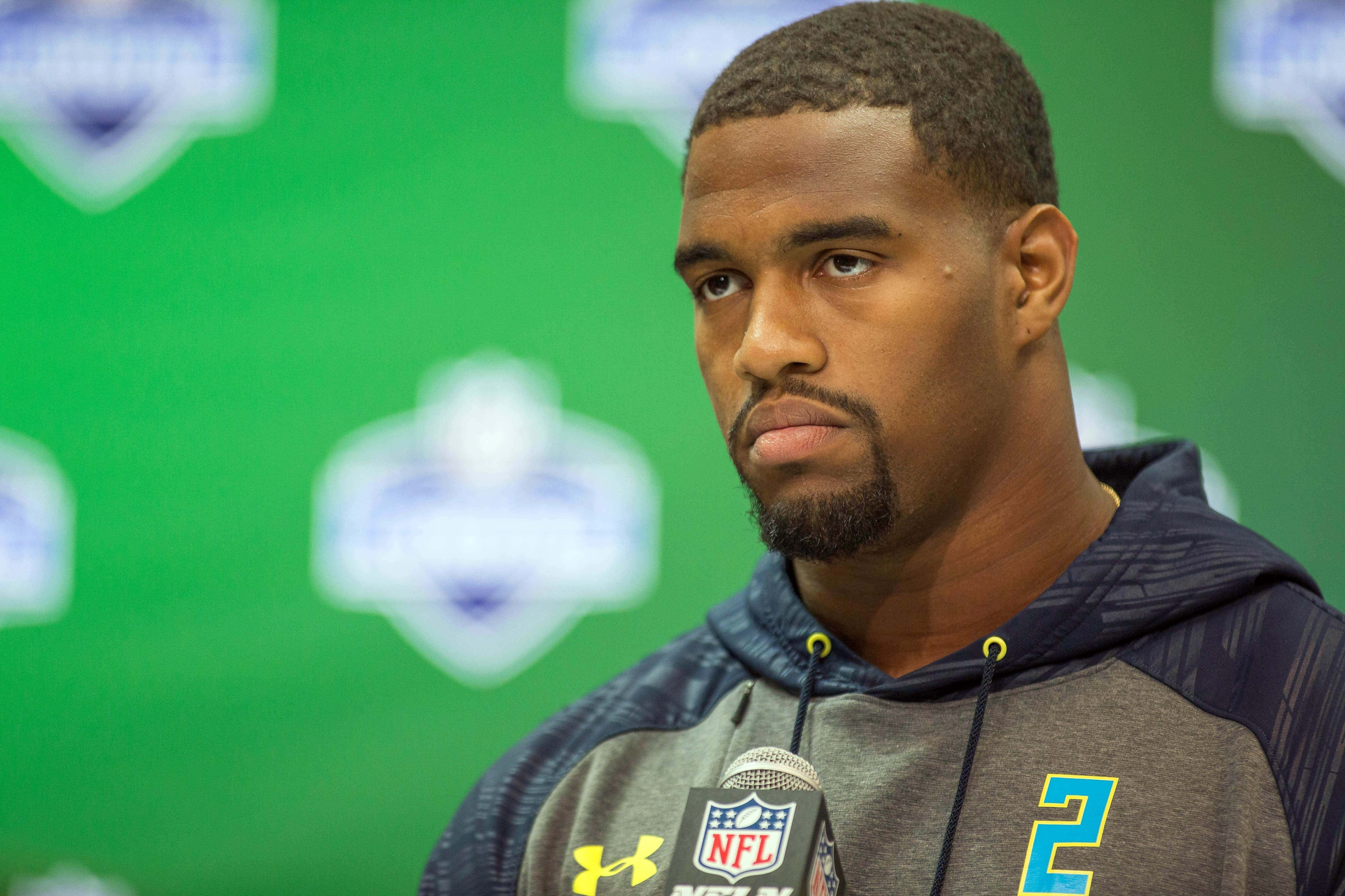 Mar 4, 2017; Indianapolis, IN, USA; Alabama defensive end Jonathan Allen speaks to the media during the 2017 combine at Indiana Convention Center. Mandatory Credit: Trevor Ruszkowski-USA TODAY Sports