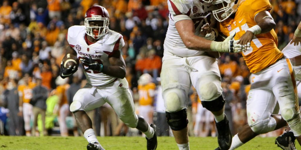 Oct 3, 2015; Knoxville, TN, USA; Arkansas Razorbacks running back Rawleigh Williams (22) runs the ball against the Tennessee Volunteers during the second half at Neyland Stadium. Arkansas won 24 to 20. Mandatory Credit: Randy Sartin-USA TODAY Sports