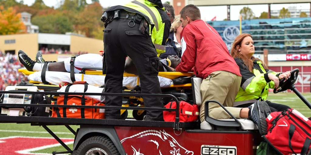 Oct 24, 2015; Fayetteville, AR, USA; Arkansas Razorbacks running back Rawleigh Williams (22) is carted off the field after being injured in the game against the Auburn Tigers during the second half at Donald W. Reynolds Razorback Stadium. Mandatory Credit: Jasen Vinlove-USA TODAY Sports