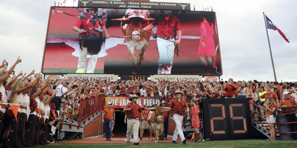 Sep 4, 2016; Austin, TX, USA; Texas Longhorns new mascot Bevo XV is introduced before the game against the Notre Dame Fighting Irish at Darrell K Royal-Texas Memorial Stadium. Mandatory Credit: Kevin Jairaj-USA TODAY Sports