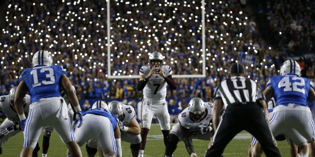 Oct 14, 2016; Provo, UT, USA; Mississippi State Bulldogs quarterback Nick Fitzgerald (7) waits for the snap in overtime against the Brigham Young Cougars at Lavell Edwards Stadium. Mandatory Credit: Jeff Swinger-USA TODAY Sports