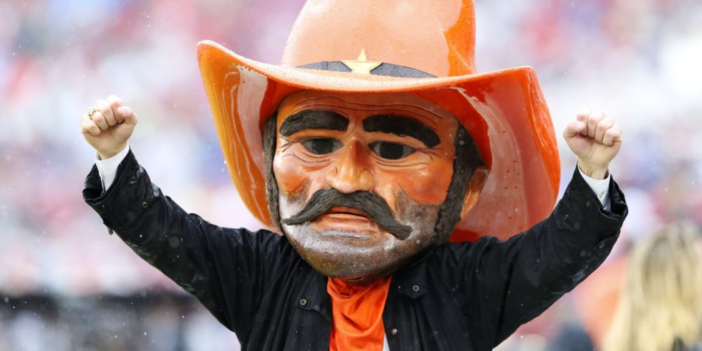 Dec 3, 2016; Norman, OK, USA; Oklahoma State Cowboys mascot Pistol Pete reacts during the first quarter against the Oklahoma Sooners at Gaylord Family - Oklahoma Memorial Stadium. Mandatory Credit: Kevin Jairaj-USA TODAY Sports