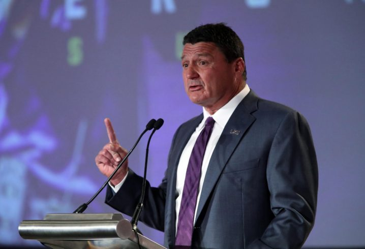 Orgeron says LSU welcomes tests against Tide and the rest