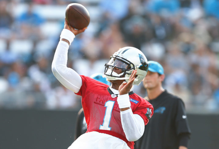 Cam Newton making more progress in return from offseason shoulder surgery