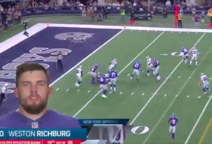 WATCH: Eli Manning sacked as NBC introduces his starting offensive line