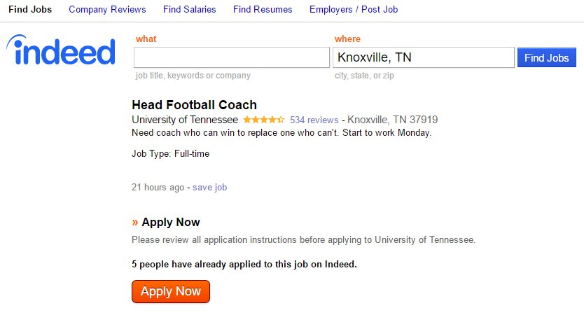 LOOK: Posting for Tennessee head coaching position listed on