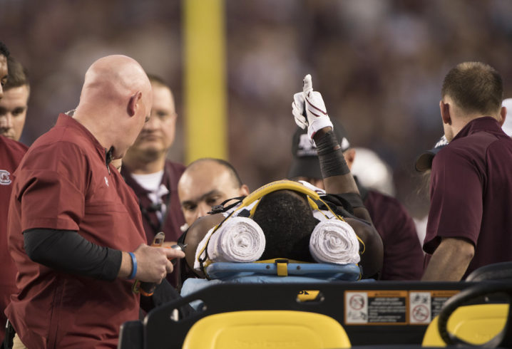 Gamecocks Googer moving arms and legs after being carted off