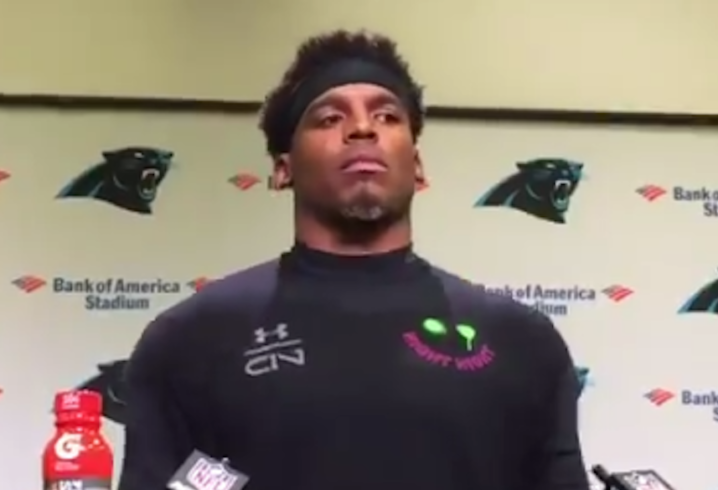Cam Newton abruptly walks out of press conference