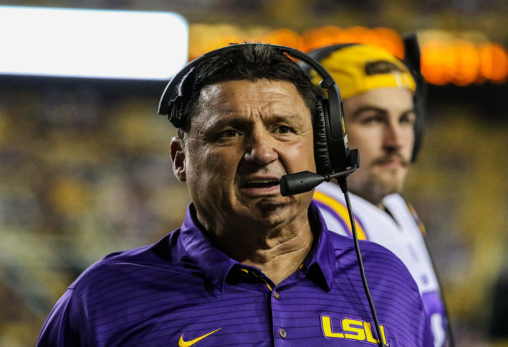 Ed Orgeron confirms meeting with coordinators, AD after Troy loss