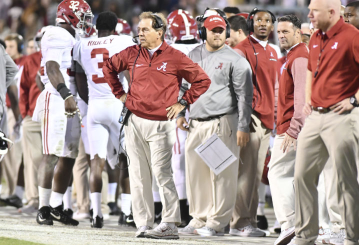 Nick Saban cracked himself up talking about people wearing ripped jeans