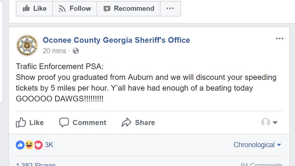 Sheriff's office in Georgia perfectly trolls Auburn following SEC