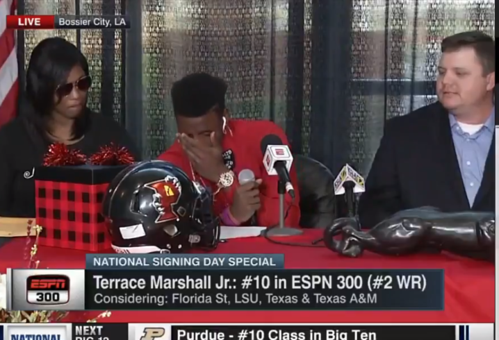 Five star and no 1 wr terrace marshall commits to lsu for Terrace marshall