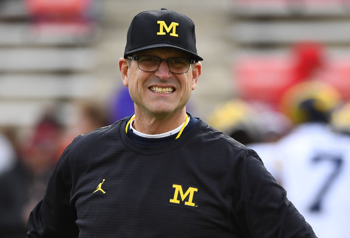 Jim Harbaugh meets with Ole Miss safety Deontay Anderson
