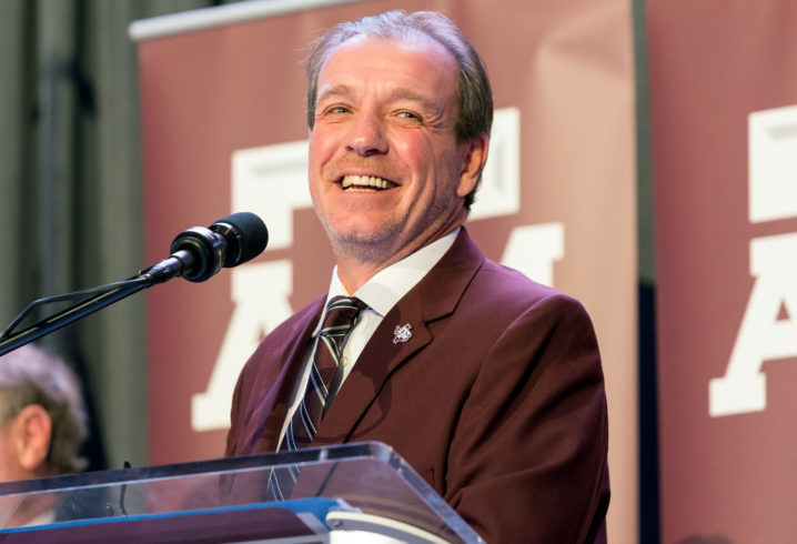 New Aggies coach Jimbo Fisher addresses crowd at A&M basketball game