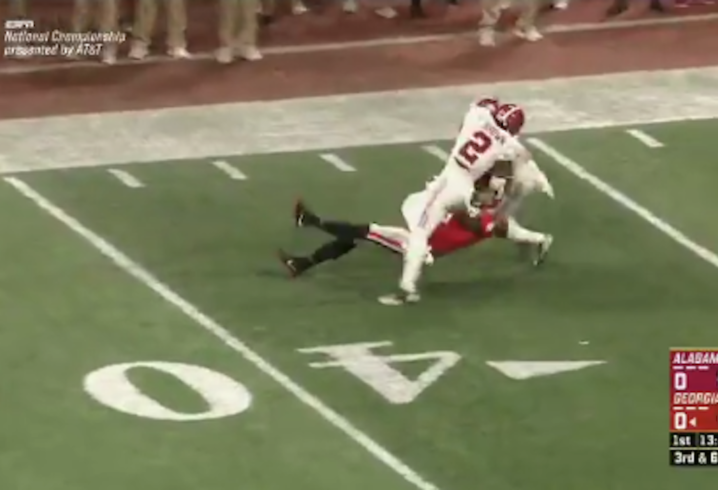 Tony Brown intercepts Jake Fromm in National Championship Game