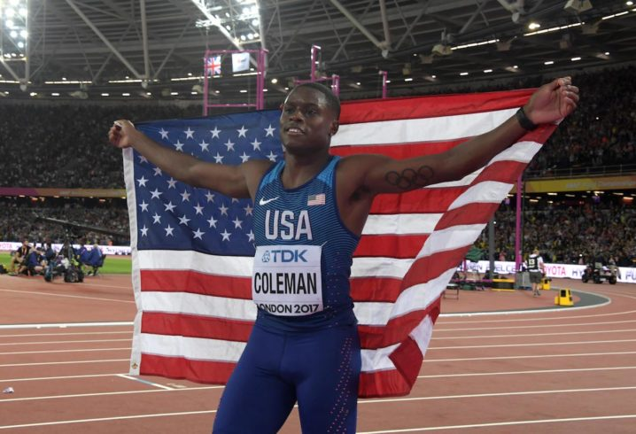 Christian Coleman breaks 60m sprint record set in 1998