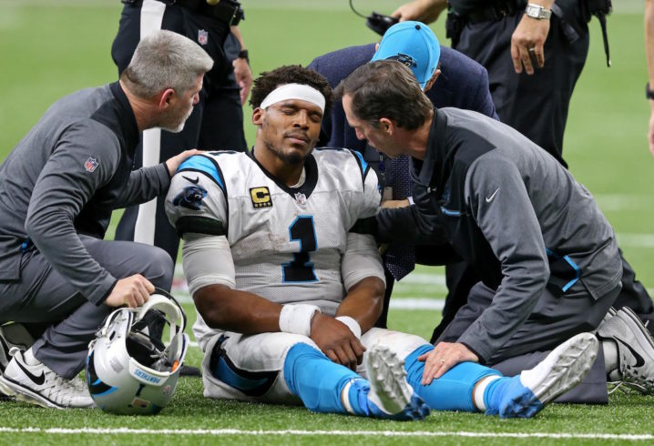 Cam Newton injured his knee in playoff loss to Saints