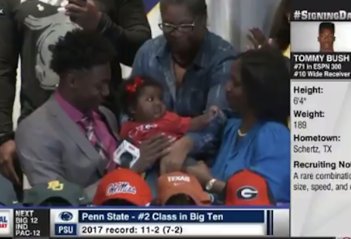 Four-star WR Tommy Bush uses baby niece to commit to Georgia