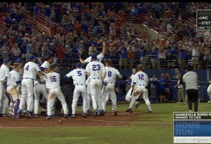 Defending champion Gators advance behind insane home run, steal of home