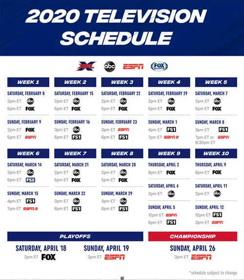 Xfl Announces 2020 Television Schedule Including
