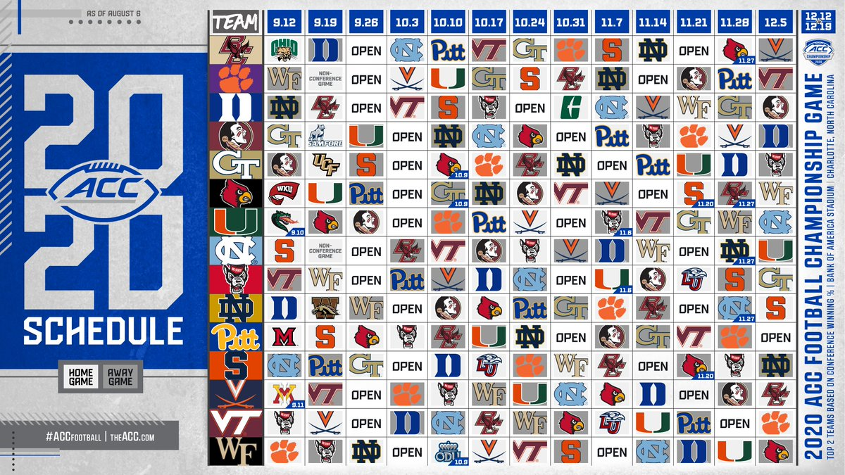 Acc Releases Official Football Schedule For The 2020 Season